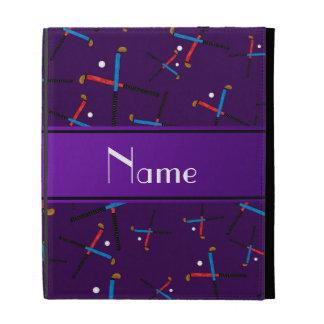 Personalized name purple field hockey pattern iPad folio cover