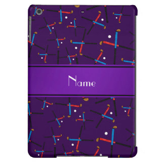 Personalized name purple field hockey pattern iPad air cases