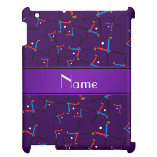 Personalized name purple field hockey pattern iPad cover