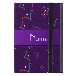Personalized name purple field hockey pattern iPad mini cases