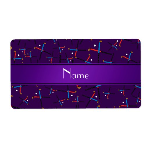 Personalized name purple field hockey pattern shipping label