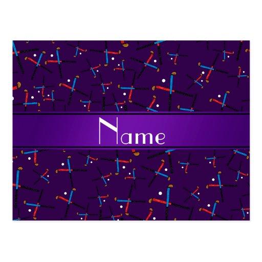 Personalized name purple field hockey pattern post card