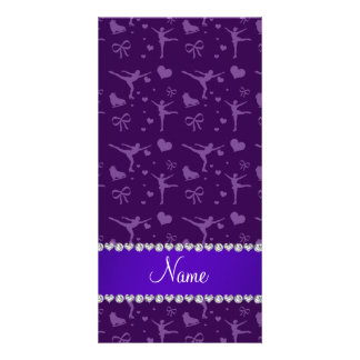 Personalized name purple figure skating photo cards