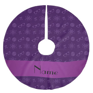 Personalized name purple geek pattern brushed polyester tree skirt