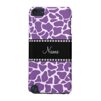 Personalized name purple giraffe pattern iPod touch (5th generation) case