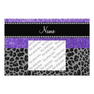 Personalized name purple glitter black leopard photographic print