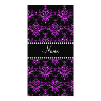 Personalized name purple glitter damask picture card