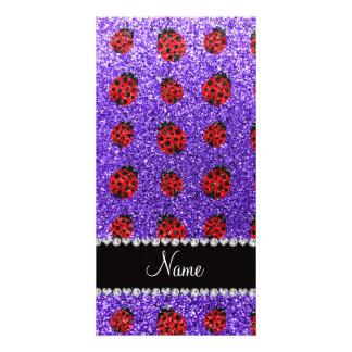 Personalized name purple glitter ladybug photo card template