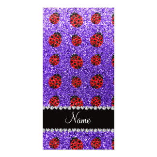 Personalized name purple glitter ladybug picture card