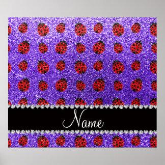 Personalized name purple glitter ladybug poster