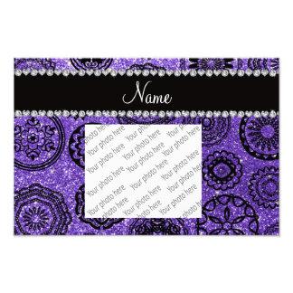 Personalized name purple glitter mandalas art photo