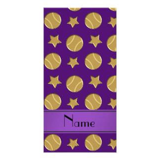 Personalized name purple gold baseballs stars photo card