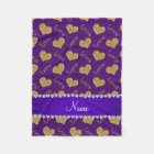 Personalized name purple gold hearts mom love fleece blanket