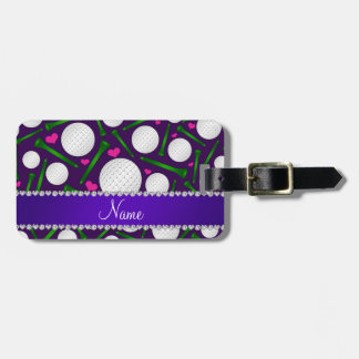 Personalized name purple golf balls tees hearts luggage tag