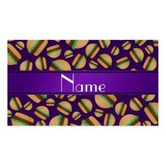 Personalized name purple hamburger pattern business card templates