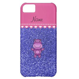 Personalized name purple hippo neon blue glitter case for iPhone 5C