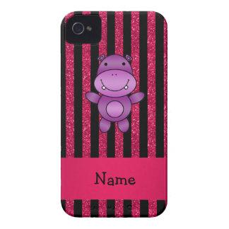 Personalized name purple hippo pink glitter stripe iPhone 4 Case-Mate case