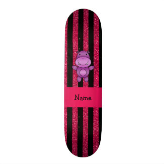 Personalized name purple hippo pink glitter stripe skate deck