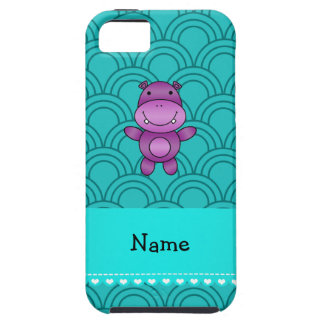 Personalized name purple hippo turquoise pattern iPhone 5 case