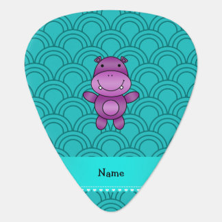 Personalized name purple hippo turquoise pattern pick