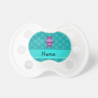 Personalized name purple hippo turquoise pattern pacifiers