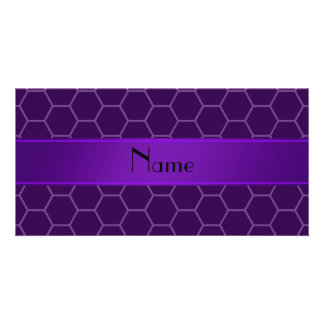 Personalized name purple honeycomb customized photo card