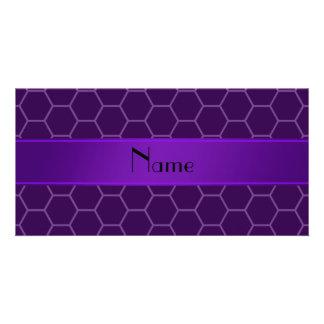 Personalized name purple honeycomb customized photo card