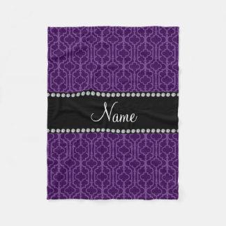 Personalized name purple intricate moroccan fleece blanket