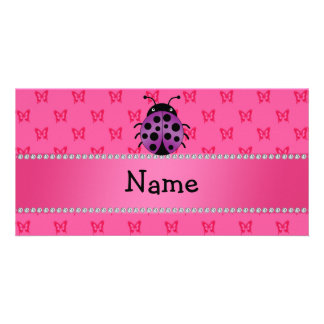 Personalized name purple ladybug pink butterflies photo card