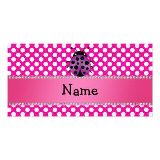 Personalized name purple ladybug polka dots photo greeting card