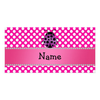 Personalized name purple ladybug polka dots picture card