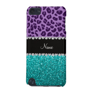 Personalized name purple leopard turquoise glitter iPod touch 5G covers