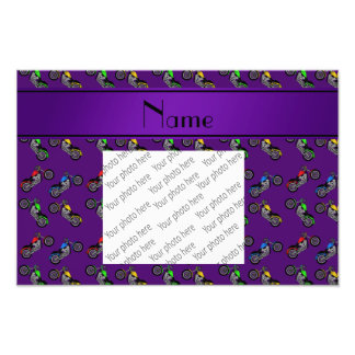 Personalized name purple motorcycles photographic print