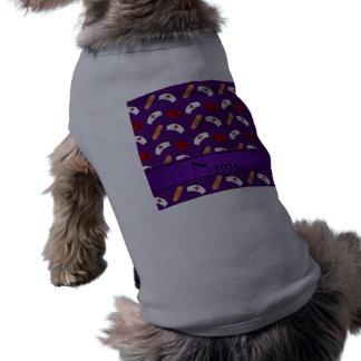 Personalized name purple nurse pattern dog t shirt