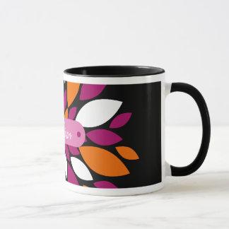 Personalized Name Purple Orange Flower Petal Art Mug