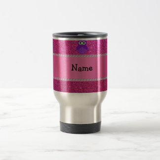 Personalized name purple owl pink glitter stainless steel travel mug