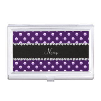Personalized name purple pearls business card holder