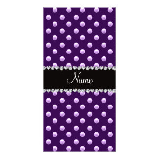 Personalized name purple pearls photo card