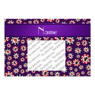 Personalized name purple poker chips art photo