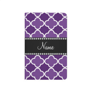 Personalized name Purple quatrefoil pattern Journal