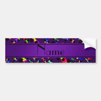 Personalized name purple race car pattern bumper sticker