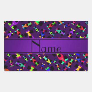 Personalized name purple race car pattern rectangular sticker
