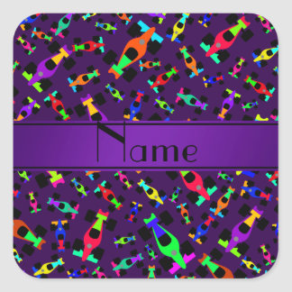 Personalized name purple race car pattern square sticker