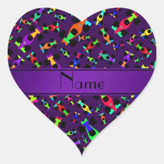 Personalized name purple race car pattern heart sticker