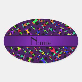 Personalized name purple race car pattern oval sticker