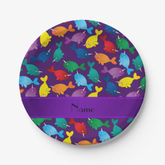 Personalized name purple rainbow narwhals paper plate