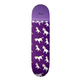 Personalized name purple rainbow unicorns skateboard deck