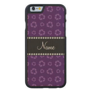 Personalized name purple recycling pattern carved maple iPhone 6 case