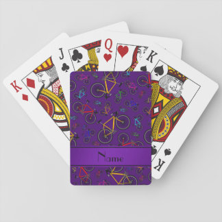 Personalized name purple road bikes card deck
