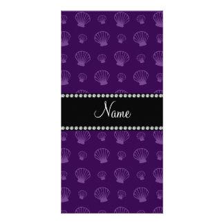 Personalized name purple shells photo card